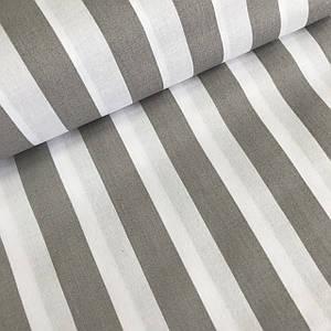Хлопковая ткань с широкой серой полоской