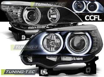 Передние фары тюнинг оптика BMW E60 (03-07) CCFL черные