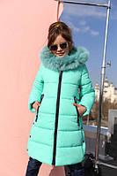 Детское зимнее пальто Вики 2,мех песец мята