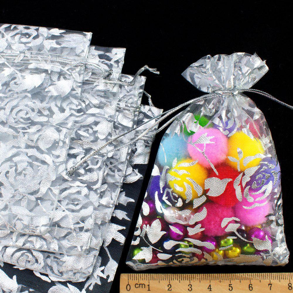 (10шт) Мешочки из органзы с рисунком (12х8см) Цена за 10 шт Цвет - серебро