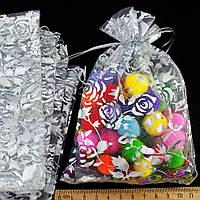 (10шт) Мешочки из органзы с рисунком (16х11см) Цена за 10 шт Цвет - серебро