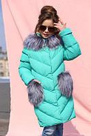 Детское зимнее пальто Банни бирюза