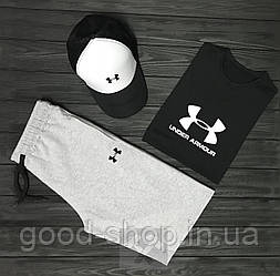 Мужской комплект футболка кепка и шорты Under Armour черного белого и серого цвета (люкс копия)