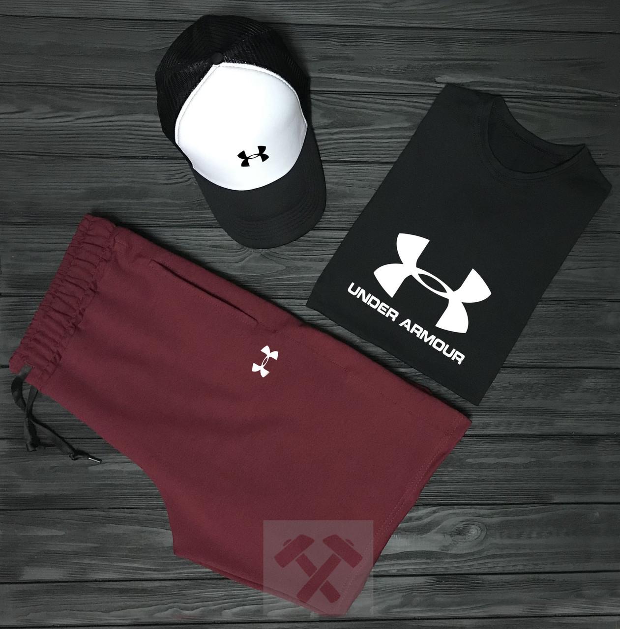 450b166df81b Мужской комплект футболка кепка и шорты Under Armour черного и красного  цвета (люкс копия)