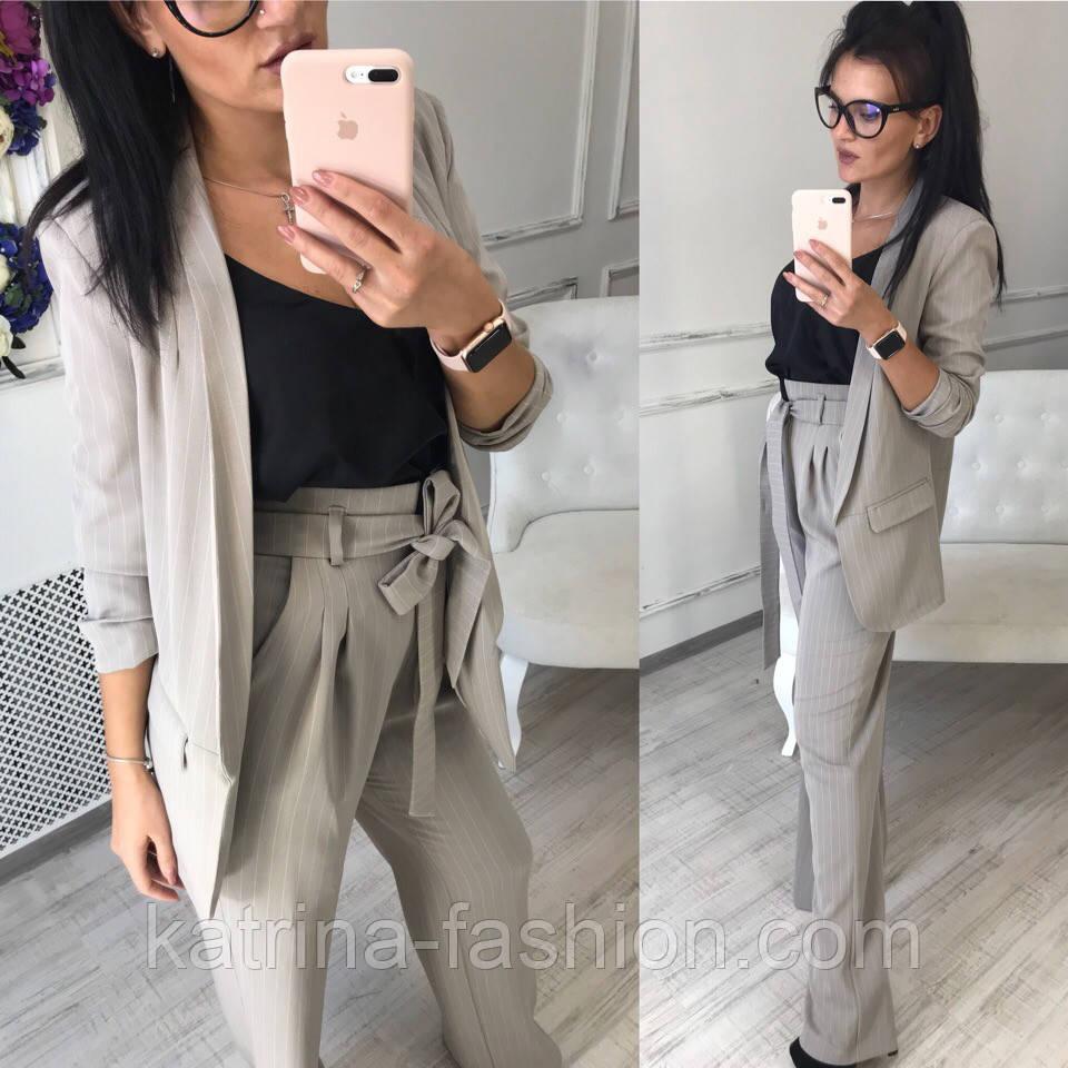 1b36d87611b Женский классический брючный костюм в полоску  пиджак удлиненный и прямые  брюки с высокой посадкой (4 цвета)
