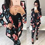 Женский брючный костюм с цветочным принтом: пиджак и брюки , фото 2