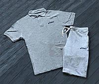 Летний спортивный костюм Asics, поло+шорты (серый)