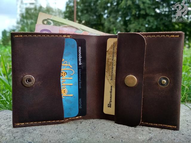 """Шкіряний гаманець """"Woolly"""" ручної роботи"""