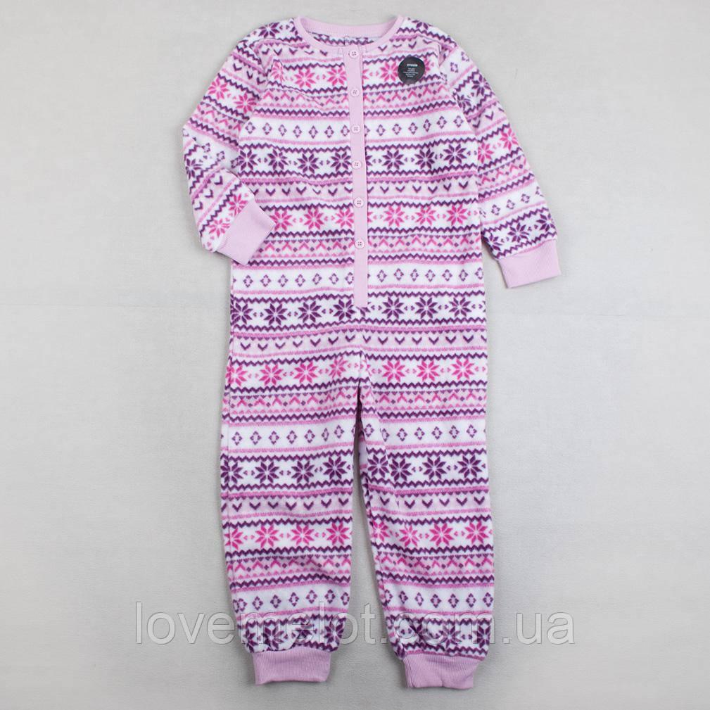 """Детский флисовый человечек F&F """"Сиреневый узор"""", размер  98 см"""