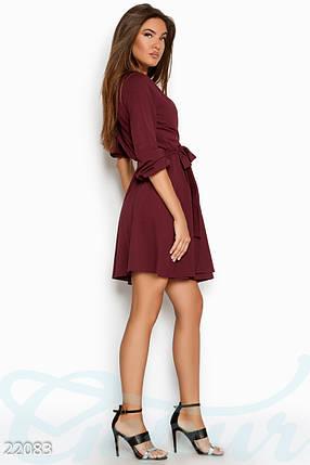 Красивое платье короткое запахивается юбка солнце клеш однотонное длинный рукав бордовое, фото 2