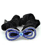 Р1750-2-2 Резинка велюровая с синими камнями, фото 1