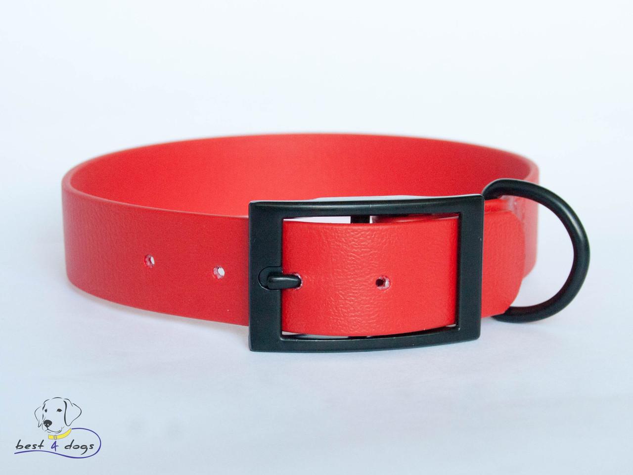 Ошейник из биотана, Красный, 25мм(черная пряжка)