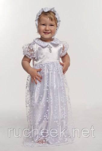 Модный карапуз ТМ Комплект крестильный для девочки с гипюром белый