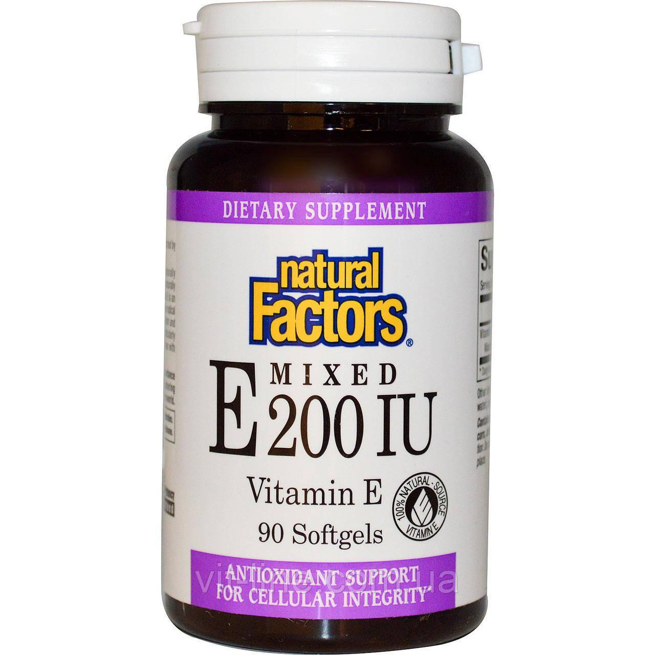 Natural Factors, Змішаний вітамін E 200 МО, Вітамін E, 90 желатинових капсул