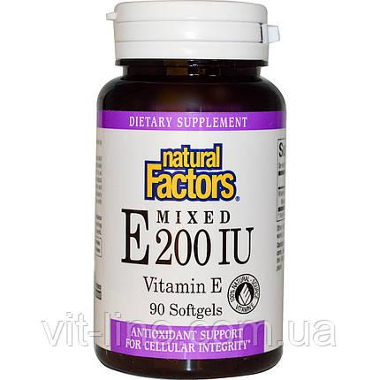 Natural Factors, Змішаний вітамін E 200 МО, Вітамін E, 90 желатинових капсул, фото 2