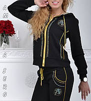 Стильный гламурный спортивный костюм женский Турция однотоный на змейке чёрный , фото 1