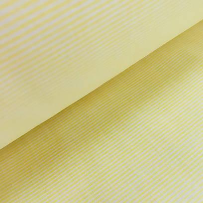 """Бязь 100% в тонкую полосочку """"Макарон"""" (макароны) желтого цвета"""