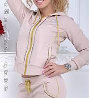 Стильный гламурный спортивный костюм женский Турция на молнии бежевый XS S M L XL , фото 1