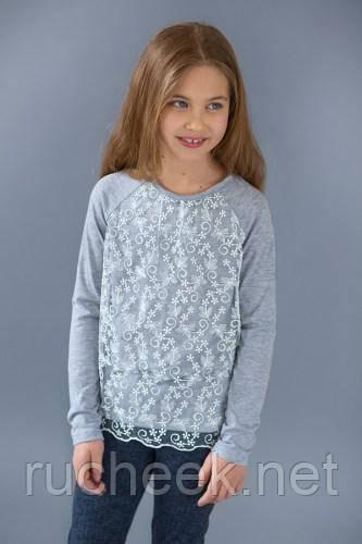 Модный карапуз ТМ Реглан для девочки с гипюром (серый меланж)
