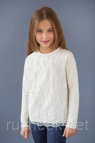 Модный карапуз ТМ Реглан для девочки с гипюром (молоко)