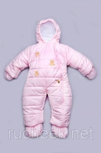 Модный карапуз ТМ Детский зимний комбинезон для девочки (english pink)