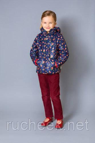 Модный карапуз ТМ Куртка-жилет для девочки (темно-синий+розочки)