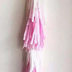 Гирлянда тассел рядами белый-розовый 1,5 м