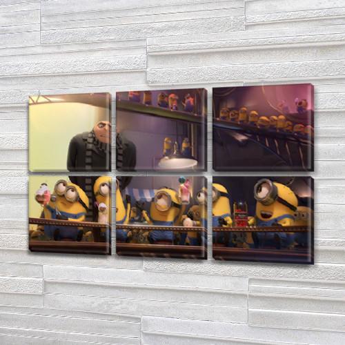 Модульные триптих картины в детскую, на Холсте син., 52x80 см, (25x25-6)