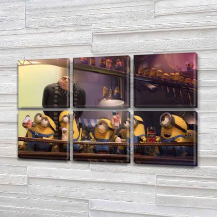 Модульные триптих картины в детскую, на Холсте син., 52x80 см, (25x25-6), фото 2