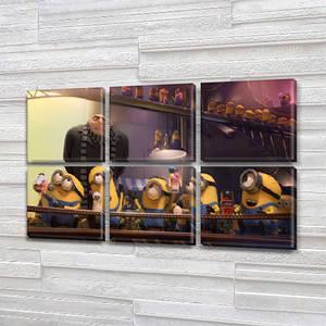 Модульна триптих картина в дитячу Міньйони, на Полотні сін., 52x80 см, (25x25-6)