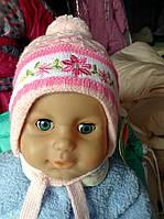 Шапочка для новорожденного с балабоном розовая