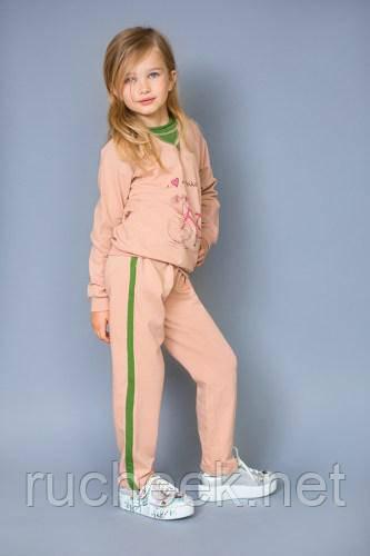 Модный карапуз ТМ Брюки детские спортивные c лампасами (powder+greenery)