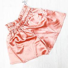 Шорты атласные персиковые на широкой резинке- 519-936-2, фото 3