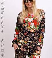 Спортивный костюм женский Турция 2-ка с цветочным принтом реглан новинка чёрный , фото 1