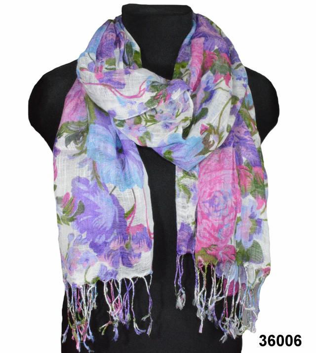 Сиреневый льняной шарф с цветочным орнаментом фото 1