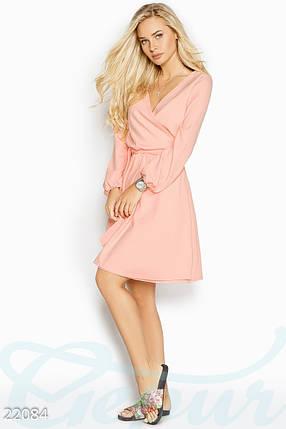 Стильное платье мини запахивается юбка клеш длинный рукав пудрово-розовое, фото 2