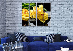 Картина модульная Желтые Орхидеи на Холсте син., 65x80 см, (65x18-4), фото 3