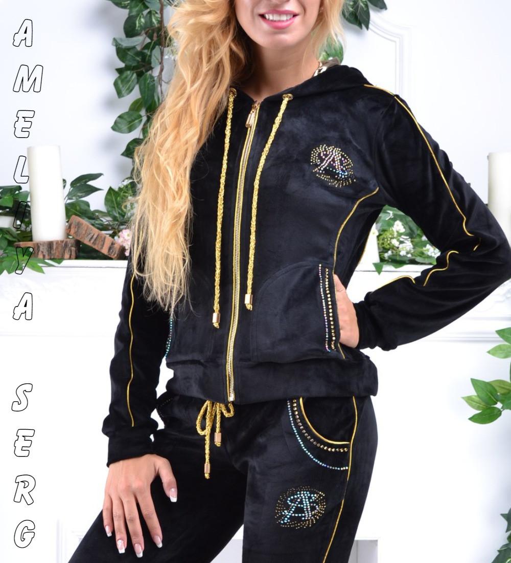 786eeb5b Стильный гламурный велюровый спортивный костюм женский Турция однотоный на  молнии - Оптово-розничный интернет-