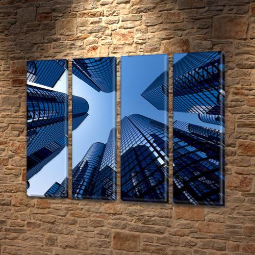 Картина модульная В окружении небоскребов на Холсте син., 65x80 см, (65x18-4)
