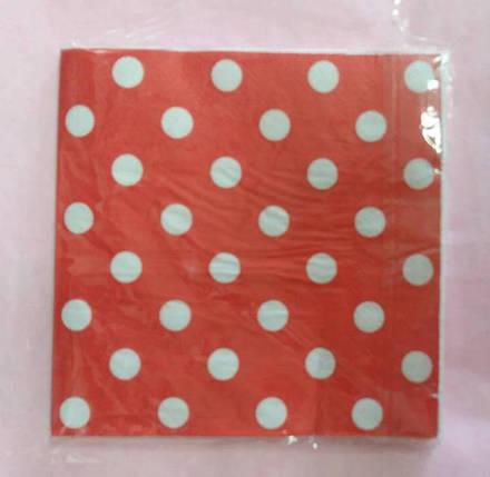 Салфетки красные в горошек, фото 2