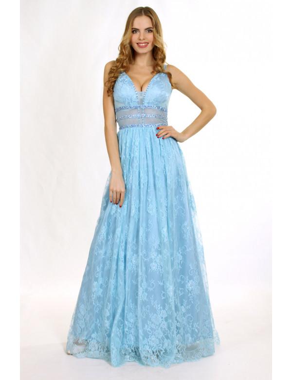 Платье  голубой  вечернее