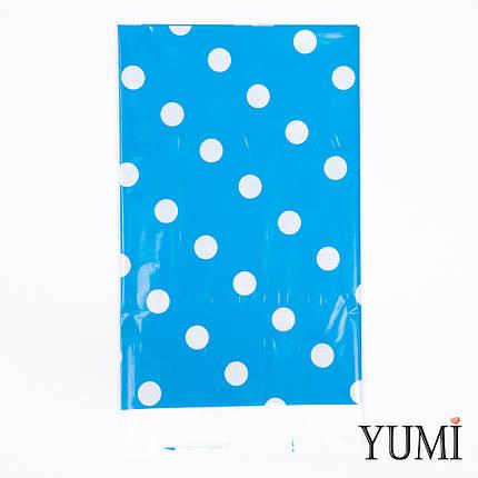 Скатерть п/э Синяя в белый горох, фото 2
