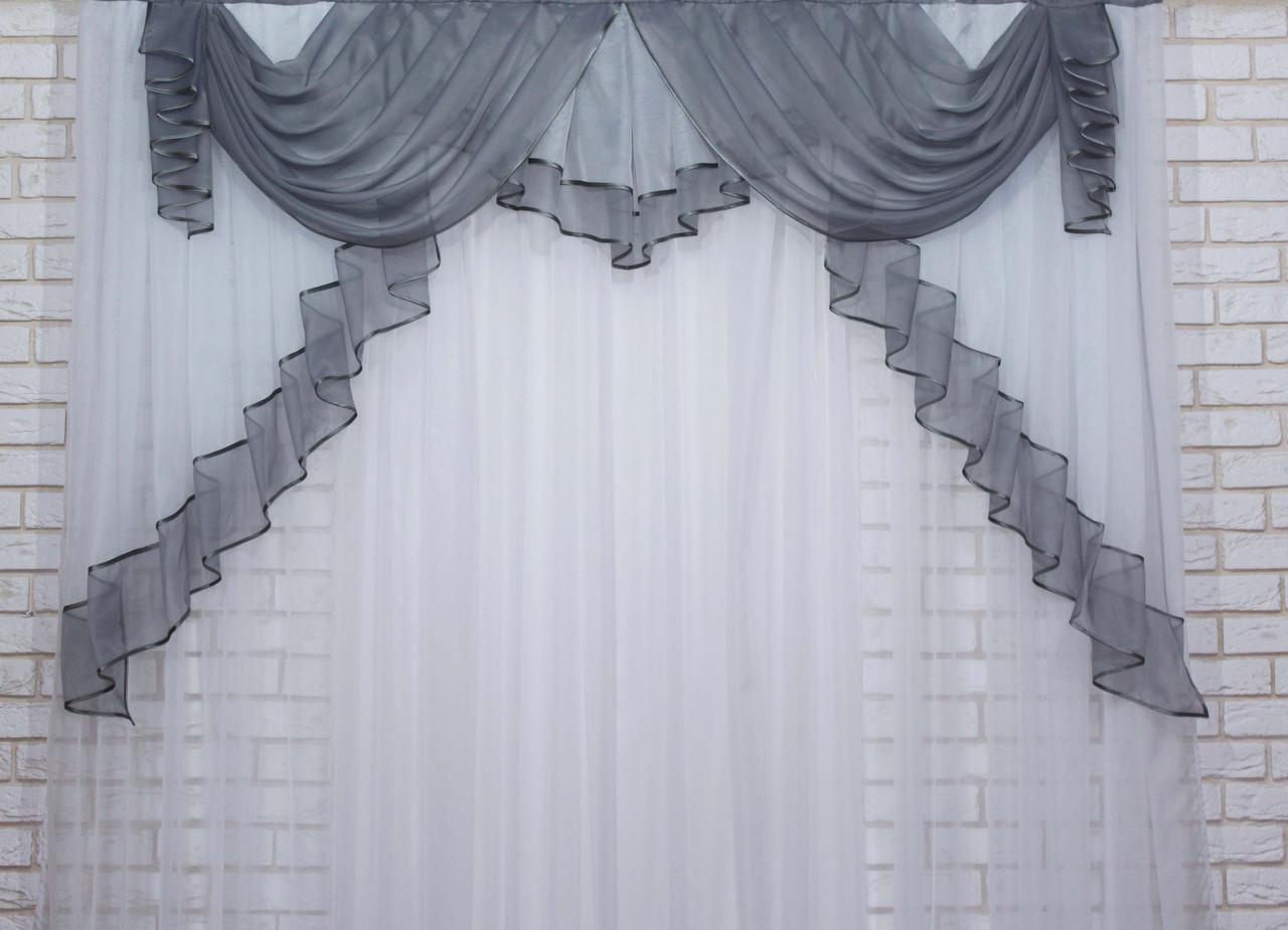 Ламбрекен на карниз 2м. №107 Цвет серый с белым