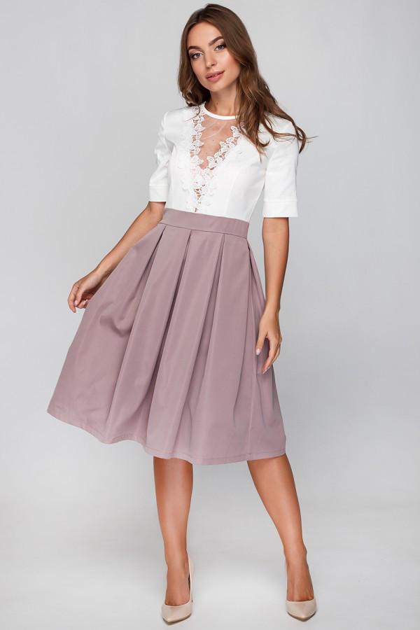 Элегантное офисное платье с красивым нарядным верхом