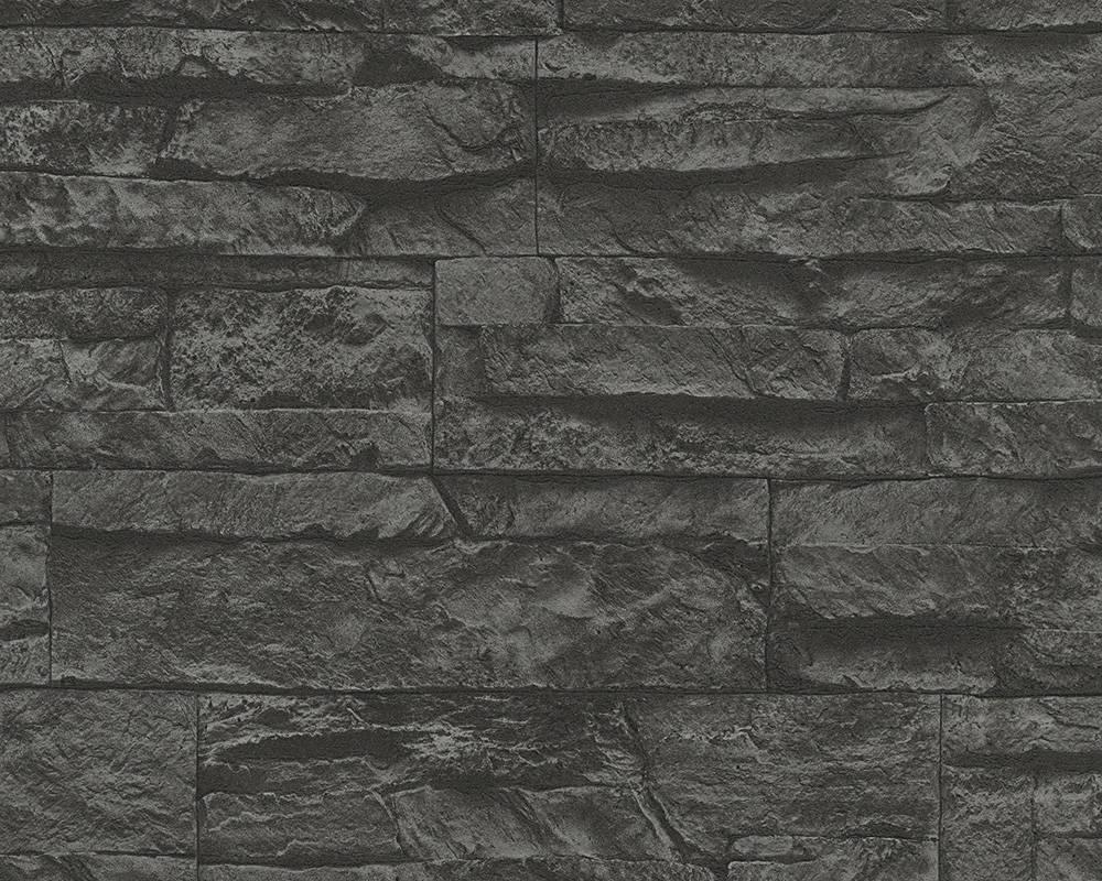 3д Обои 707123 стена из камня темно-серого цвета графит, в стиле лофт, супермойка на флизелиновой