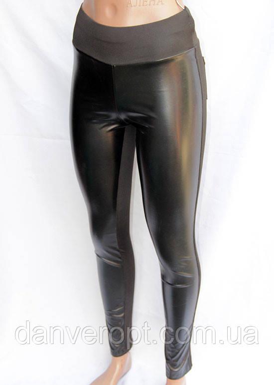Лосины женские модные стильные с экокожей размер норма 42-48, купить оптом со склада 7км Одесса