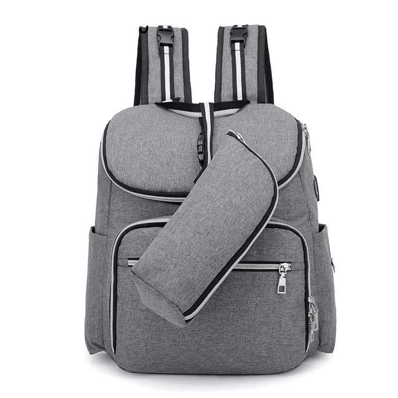c9a64bc6c365 Рюкзак с USB портом и термосумкой для мамы, детских вещей, путешествий  (серый)