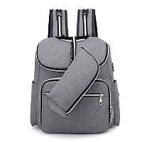 Рюкзак с USB портом и термосумкой для мамы,  детских вещей, путешествий (серый), фото 1