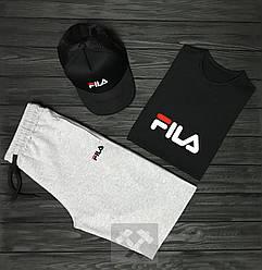 Мужской комплект футболка кепка и шорты Fila серого и черного цвета (люкс копия)