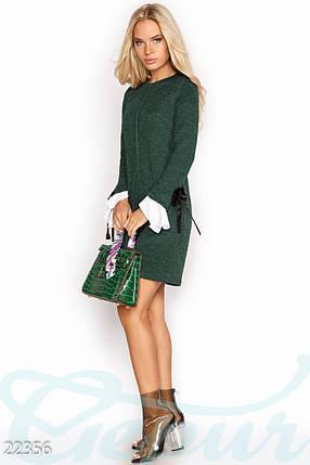 Ангоровое платье короткое полуприталенное с длинным рукавом с манжетом зеленое, фото 2